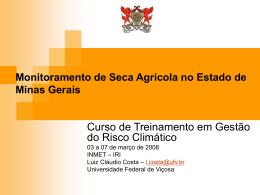 Monitoramento da Seca Agrícola no Estado de Minas Gerais