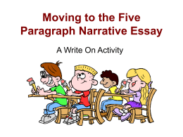 Moving to the Five Paragraph Composition