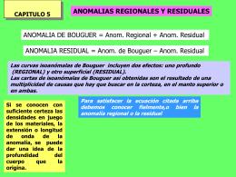 Anomalías de la gravedad residuales y regional