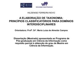 taxonomia - Universidade Federal Fluminense