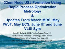 32nm node USJ formation using Rapid Process Optimization