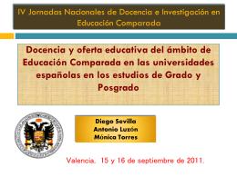 Docencia y oferta educativa del ámbito de Educación Comparada