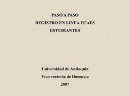 Registro ECAES estudiantes - Vicerrectoría de Docencia