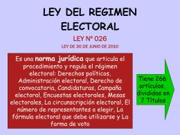 LEY DEL ORGANO ELECTORAL 018