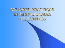 Mejores Practicas Internacionales Relevantes