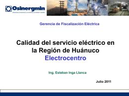Calidad del servicio eléctrico en la Región de Huánuco