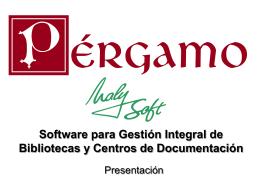 PÉRGAMO Sistema de Gestión Integral para Bibliotecas y