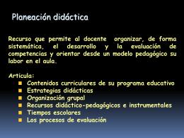 Elementos de la planeación didáctica