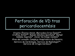 Perforación de VD tras pericardiocentésis