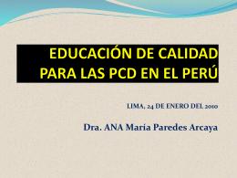 EDUCACIÓN DE CALIDAD PARA LAS PCD EN EL