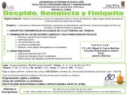 Despido, Renuncia y Finiquito - Universidad Autónoma de Nuevo