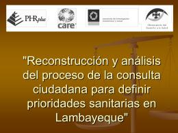 """""""Reconstrucción y análisis del proceso de la consulta"""