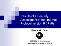 IPv6 security - SI6 Networks
