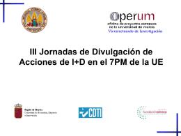 III Jornadas de Divulgación de Acciones de I+D en el 7PM de la UE