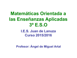 Matemáticas Orientadas a las Enseñanzas Aplicadas 3º ESO