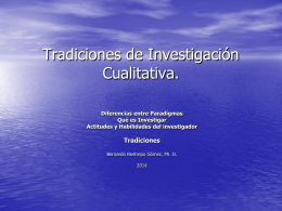 Tradiciones de Investigación Cualitativa.