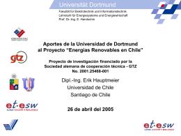 """""""Erneuerbare Energien in Chile"""" -Forschungsprojekt gefördert durch"""
