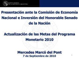 Programa Monetario 2010 - Honorable Senado de la Nación