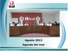 Agosto 2013 Agenda del mes