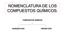 NOMENCLATURA DE LOS COMPUESTOS QUÍMICOS.