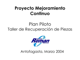 Proyecto Mejoramiento Continuo Plan Piloto Taller de