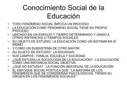 Conocimiento Social de la Educación