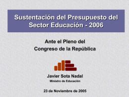 Ministro de Educación - Congreso de la República del Perú