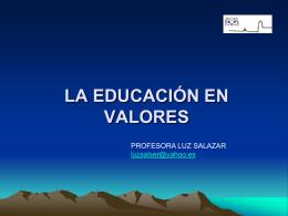 LA EDUCACIÓN EN VALORES LS