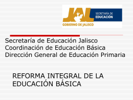 Secretaría de Educación Jalisco Coordinación de