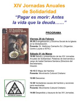 """XIII Jornadas Anuales de Solidaridad """"La Educación para Otro"""
