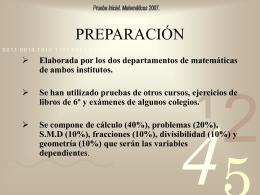 Prueba inicial Matemáticas 2007