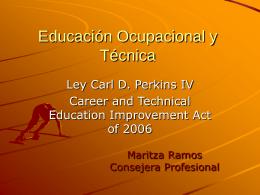 Educación Ocupacional y Técnica