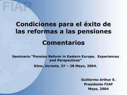 Condiciones para el éxito de las reformas a las pensiones