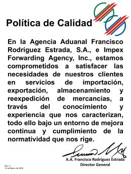 Política de Calidad En la Agencia Aduanal Francisco Rodríguez