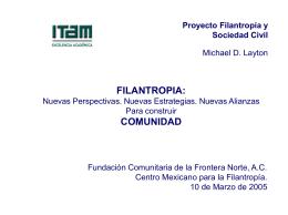 Presentación - Proyecto sobre Filantropía y Sociedad Civil