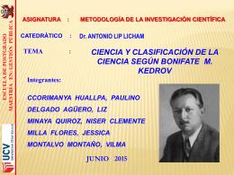 ciencia y clasificación - Maestria en Gestión Pública UCV