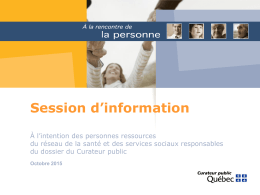 Session d`information à l`intention des personnes ressources du