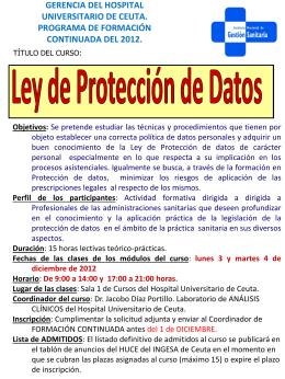 información e inscripción para el curso `Ley de Protección de Datos`