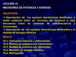 LECCIÓN 10 MEDIDORES DE POTENCIA Y ENERGÍA