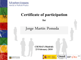 Certificate of participation for