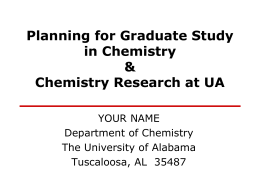 Planning for graduate studies - Department of Chemistry, University