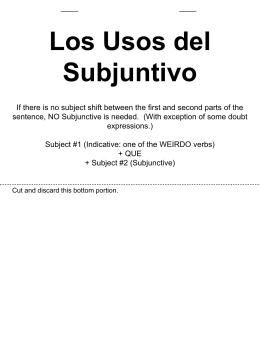 Los verbos que indican el subjuntivo