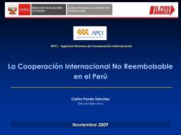 La Cooperación Internacional No Reembolsable en el Perú