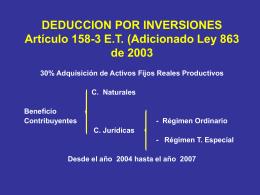 DEDUCCION POR INVERSIONES Artículo 158