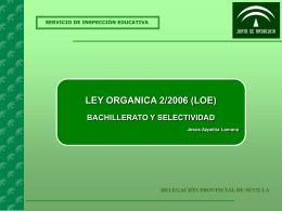 loe: bachillerato y selectividad