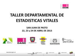 Taller Departamental de Estadísticas Vitales