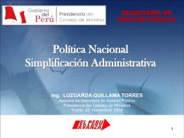 Las Políticas Nacionales en materia de Simplificación
