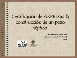 Certificación de ARPE para la construcción de un pozo séptico