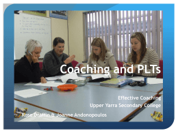 Coaching and PLT`s