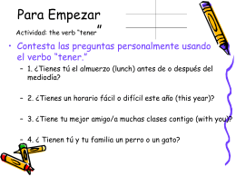 """Para Empezar Actividad: the verb """"tener"""""""